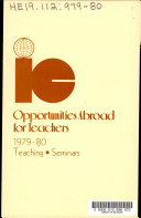 Opportunities Abroad For Teachers book