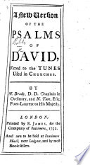 A New Version of the Psalms of David, etc
