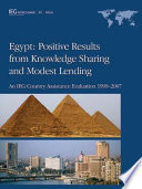 Egypt, Positive Results from Knowledge Sharing and Modest Lending