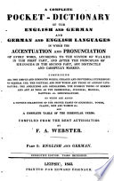 A Complete Pocket-dictionary of the English and German and German and English Languages