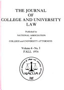 The Journal of College and University Law