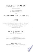 Select Notes On The International Sunday School Lessons  book