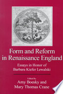 Form and Reform in Renaissance England