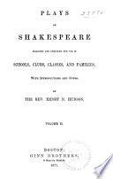 Plays of Shakespeare Selected and Prepared for Use in Schools  Clubs  Classes  and Families  Tempest  Winter s tale  Henry V  Richard III  King Lear  Macbeth  Antony and Cleopatra