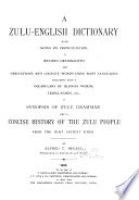 A Zulu English dictionary with notes on pronunciation