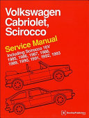 Volkswagen Cabriolet Scirocco Service Manual 1985 1986 1987 1988 1989 1990 1991 1992 1993 Including Scirocco 16v