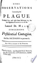 Some Observations Concerning The Plague