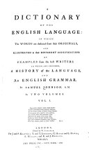 A Dictionary of the English Language  in which the Words are Deduced from Their Originals