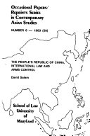 The People s Republic of China  International Law and Arms Control