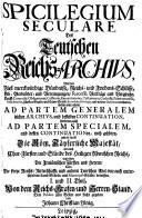 Das teutsche reichs-archiv ...: Spicilegium seculare. 1719