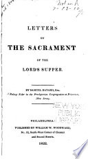 Letters on the Sacrament of the Lord s Supper