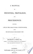 A Manual of Dignities  Privilege  and Precedence