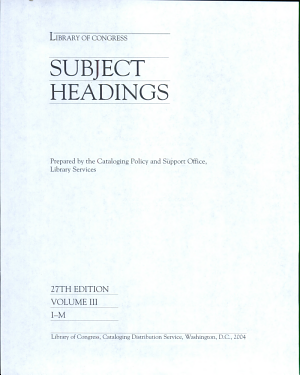 Download Pdf Library of Congress Subject Headings