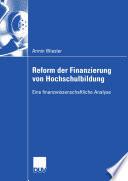 Reform der Finanzierung von Hochschulbildung