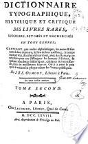 Dictionnaire typographique  historique et critique des livres rares