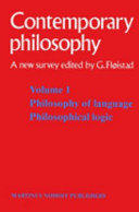 Tome 1 Philosophie du langage, Logique philosophique / Volume 1 Philosophy of language, Philosophical logic