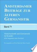 Niederlandistik und Germanistik im Kontakt