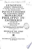 Synopsis cursus theologici P  Iacobi Platel