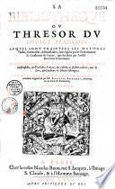 La Biblioth  que ou thr  sor du droict fran  ois auquel sont trait  es les mati  res civiles  criminelles et b  n  ficiales