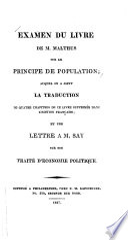 Examen du livre de M  Malthus sur le Principe de population