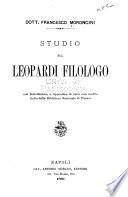 Studio sul Leopardi Filologo