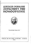 Leipziger popul  re Zeitschrift f  r Hom  opathie