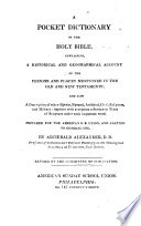 A Pocket Dictionary Of The Holy Bible : ...