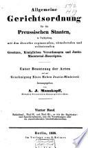 Allgemeine Gerichtsordnung f  r die Preussischen Staaten