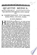 Resp Qu Stio Medica An Variolis Diaphoretica Praes J F Foy Vaillant