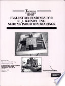 Evaluation Findings For R J Watson Inc Sliding Isolation Bearings