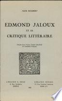 Edmond Jaloux et sa critique litteraire