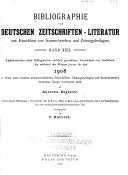 Bibliographie Der Deutschen Zeitschriftenliteratur Mit Einschluss Von Sammelwerken
