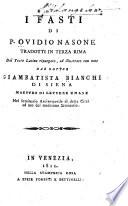 I Fasti di P  Ovidio Nasone tradotti in terza rima dal testo Latino ripurgato