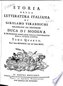 Storia della letteratura italiana di Girolamo Tiraboschi ...