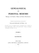 Genealogical and Personal Memoirs Relating to the Families of Boston and Eastern Massachusetts