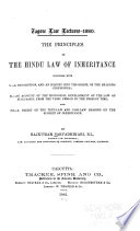 The Principles of the Hindu Law of Inheritance     Book PDF