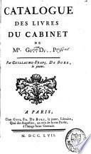 Catalogue des livres du cabinet de M    D    G    P     Girardot de Pr  fond