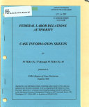 Case Information Sheets for ... Published in FLRA Report of Case Decisions