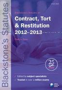 Blackstone s Statutes on Contract  Tort   Restitution 2012 2013