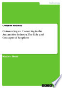 Outsourcing Vs  Insourcing in the Automotive Industry  The Role and Concepts of Suppliers