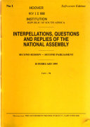 Interpellations  Questions and Replies of the National Assembly