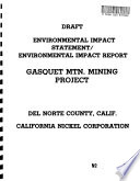 Gasquet Mountain Mine Operating Plan Approval