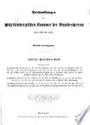 Verhandlungen der W  rttembergischen Kammer der Standesherren auf dem ordentlichen Landtage