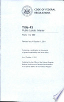 Code of Federal Regulations  Title 43  Public Lands  Interior  Pt  1 999  Revised as of October 1 2011