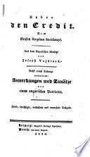Ueber den Credit; aus dem Ungarischen übers. von Joseph Vojdisek. Nebst einem Anhange (etc.). 2. verb. u. verm. Ausg