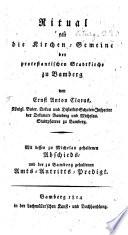 Ritual für die Kirchen-Gemeine der protestantischen Stadtkirche zu Bamberg