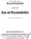 Regensburgische wöchentliche Frag- und Anzeigsnachrichten