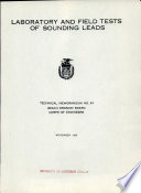 Laboratory And Field Tests Of Sounding Leads