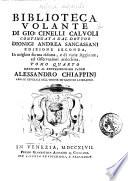 Biblioteca volante di Gio  Cinelli Calvoli continuata dal dottor Dionigi Andrea Sancassani     Tomo primo   quarto