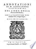 Annotationi nel libro della poetica d Aristotele con la traduttione del medesimo libro  in lingua volgare